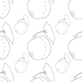桃のシームレスな背景ベクトルイラスト。エキゾチックなフルーツ。健康的なライフスタイルデザインのパターン。スカンジナビアスタイル。ベジタリアンの夏の背景。キッチンアート。新鮮なポスター。