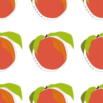 桃のシームレスな背景ベクトルイラスト。ラッピングペーパーアート。夏の食べ物のコンセプト。装飾的な要素。植物の花の装飾のテクスチャ。