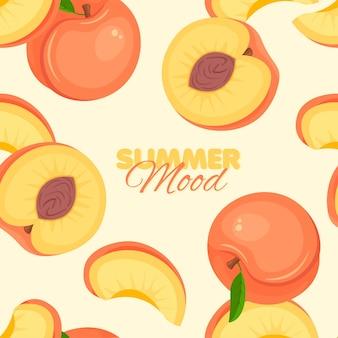 Peach seamless pattern summer mood