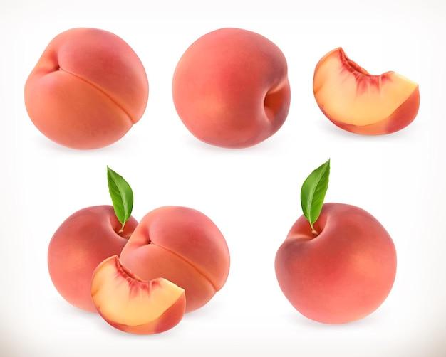 桃。甘い果実。アイコンを設定します。リアルなイラスト