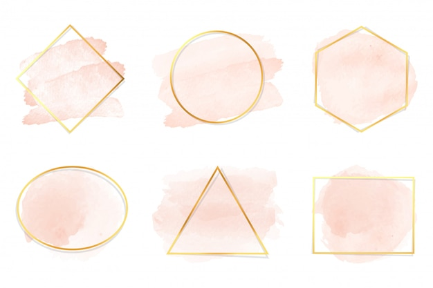 Peach watercolor background with gold frame collection isolated