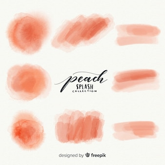 Peach watercolor splash collection