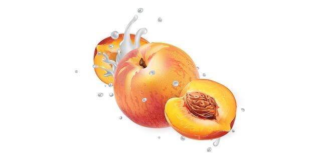 桃と白い背景にヨーグルトまたは牛乳のスプラッシュ。リアルなイラスト。