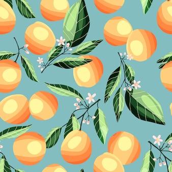 나무 가지에 복숭아와 살구, 매끄러운 패턴. 파란색 배경에 열 대 여름 과일입니다. 추상 화려한 손으로 그린 그림입니다.