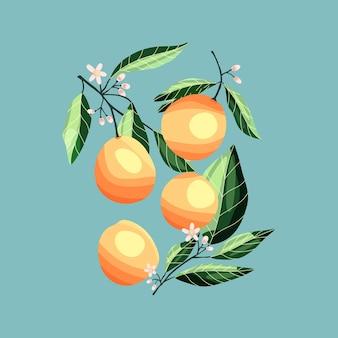 나무 가지에 복숭아와 살구입니다. 파란색 배경에 열 대 여름 과일, 추상 화려한 손으로 그린 그림.