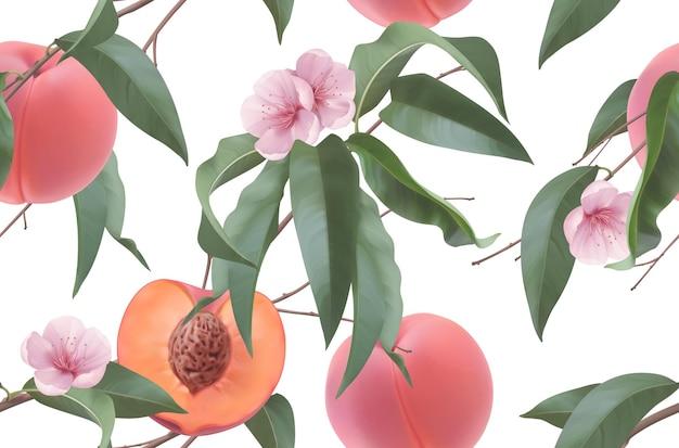 복숭아, 과일 꽃과 잎. 완벽 한 패턴입니다. 3d 현실적인 벡터 배경