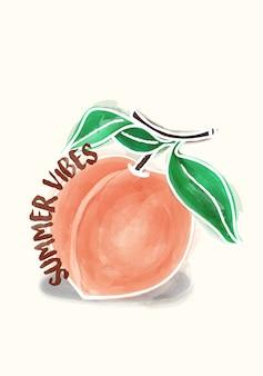 Иллюстрация персикового лета vibes