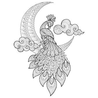 Павлин и луна рисованной эскиз иллюстрации для взрослых раскраски