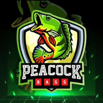 Peacock bass fish mascot. esport logo design
