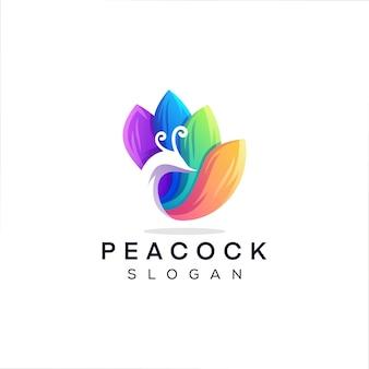 孔雀の色のグラデーションのロゴのデザイン