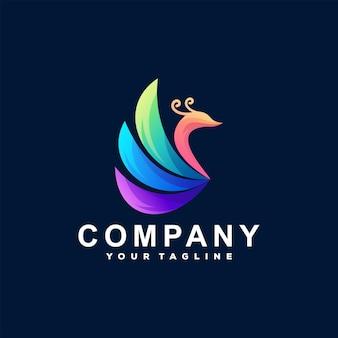 孔雀の色のグラデーションのロゴ