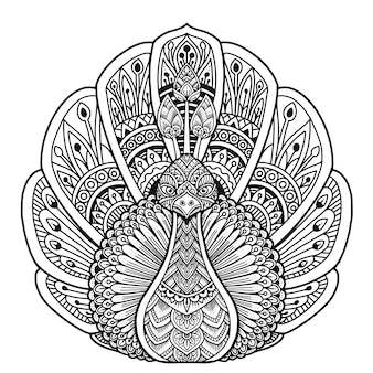 Peacock coloring book mandala design