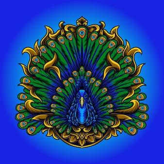 Павлин гравюра орнамент