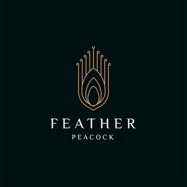 Павлинье перо элегантный золотой цвет логотипа значок дизайн шаблона плоские векторные иллюстрации