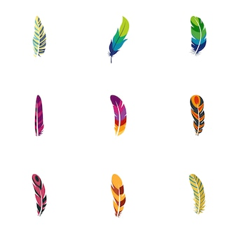 Peacock feather icon set. flat set of 9 peacock feather icons