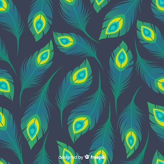 Peacock feather pattern collection with flat design