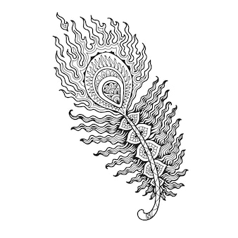 Peacock feathers mandala design for coloring book