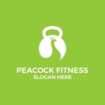 Peacock fitness logo design template