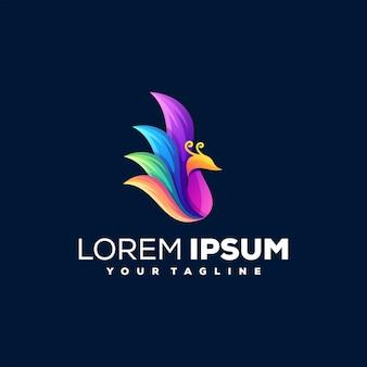 孔雀のグラデーションカラーのロゴデザイン