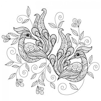 Peacock. hand drawn sketch illustration for adult coloring book.