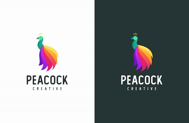 Peacock logo, modern colorful vector animal