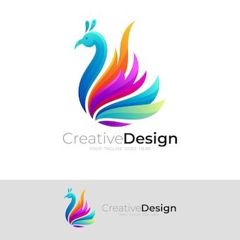 カラフルなデザインイラスト、動物と孔雀のロゴ