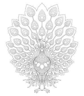Peacock mandala design for coloring page print
