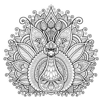 塗り絵の孔雀マンダラデザイン