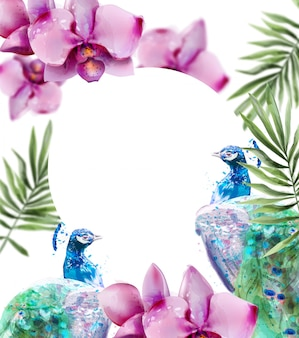 Peacock and orchid flowers watercolor. summer floral background