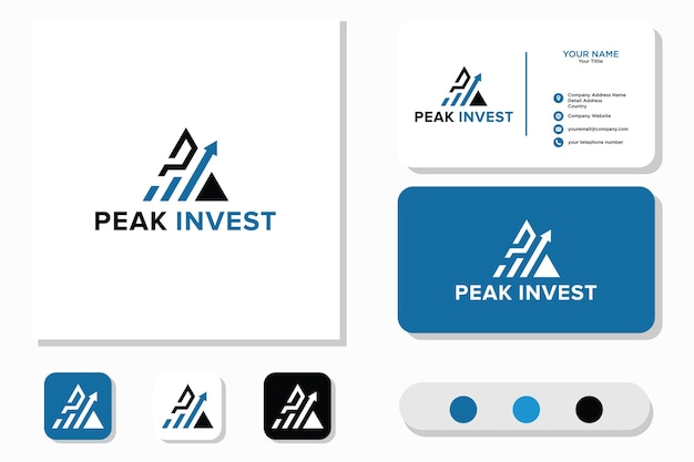 Peak invest logo and business card