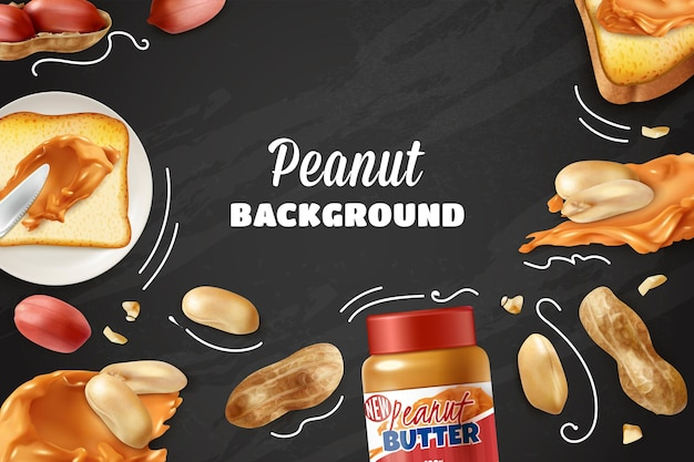 Peanut background with realistic nuts and jar with peanut butter on chalkboard