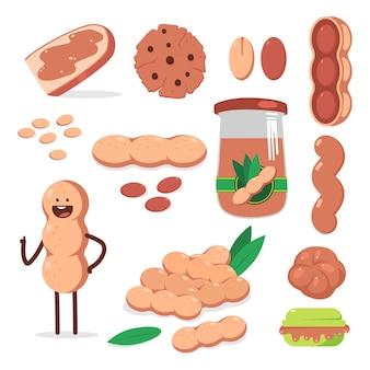땅콩, 버터, 너트 캐릭터 만화 세트 절연