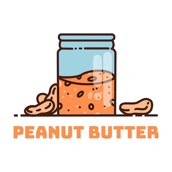 Peanut butter canister. cute cartoon peanut butter vector illustration.