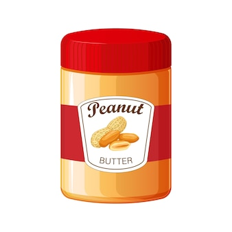 Peanut butter. detailed icon. food for cooking breakfast. jar of peanut butter isolated on white