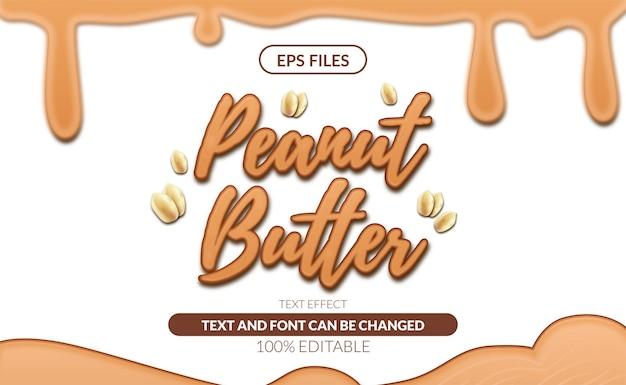 땅콩 버터 편집 가능한 텍스트 효과.