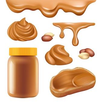 ピーナッツバター。サンドイッチスプレッドキャラメル食品の現実的な写真のための健康的なデザートチョコレートプロテインオイリークリーム