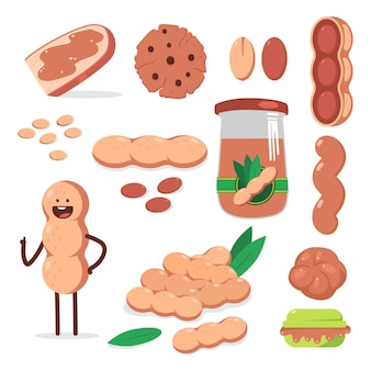 Peanut, butter and nut character cartoon set isolated