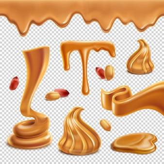 땅콩 버터 영양가있는 음식 확산 페이스트 수치 녹은 웅덩이 물방울 테두리 현실적인 세트 투명 표면 그림