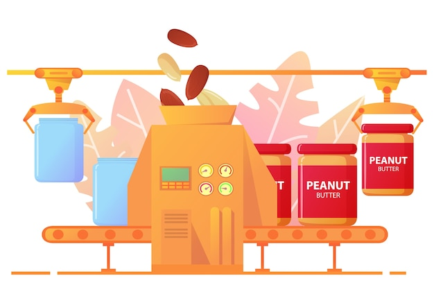 Peanut butter production conveyor line packing in cans.factory peanut food industry.