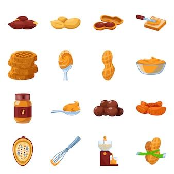 ピーナッツバターベクトル漫画アイコン。食品のイラストとナッツとピーナッツバターを設定します。