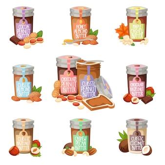 Peanut butter vector flat design illustration jar.