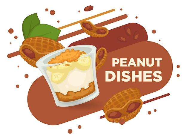 Арахисовые блюда, мороженое и сладкие вафли вектор