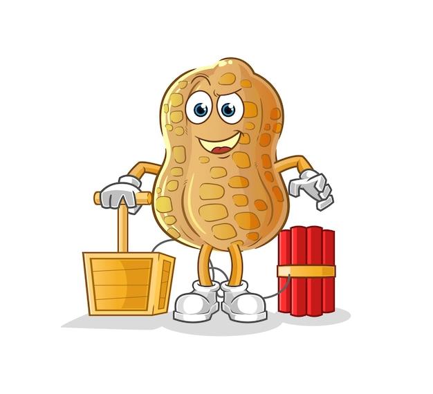 The peanut holding dynamite detonator. cartoon mascot