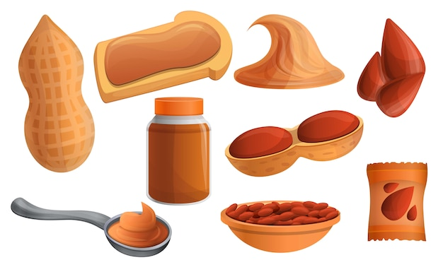 Peanut icon set, cartoon style