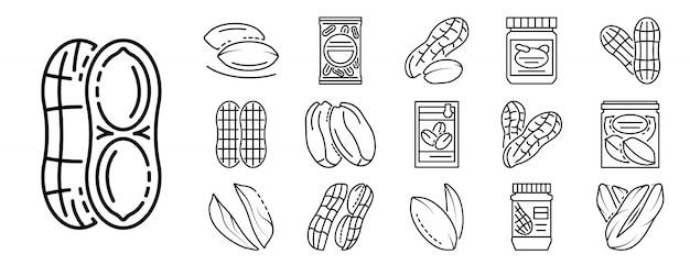 Peanut icon set, outline style