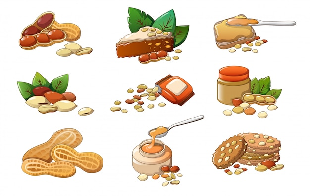 Peanut icons set