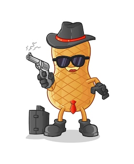 Peanut mafia with gun character isolated on white