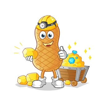 Peanut miner with gold character isolated on white