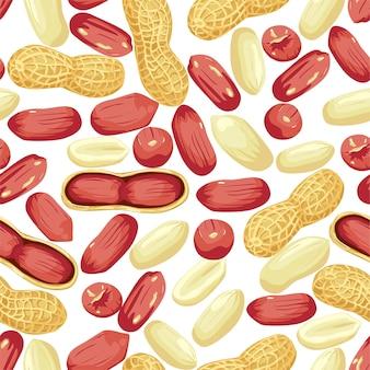 Семена арахиса целиком и очищенные, арахис в стручках бесшовные модели. реалистичные орехи.
