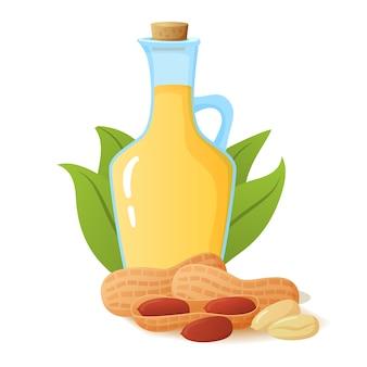 ガラス瓶の中のピーナッツオイル。ヤシの葉とナッツ。オーガニック健康製品。